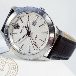 NWT Versace Men's Leather Strap Watch